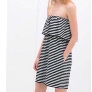 Zara Trafaluc Striped Nautical Strapless Sun Dress